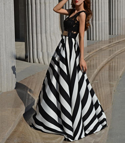 Black White Maxi Chevron Dress - Black Vest Top / Zebra Striped .