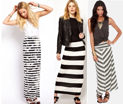 Class to Night Out: Black and White Striped Maxi Skirt - College .
