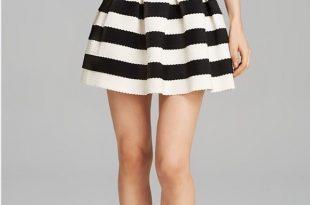 Aqua Skirts | Black White Stripe Skirt | Poshma