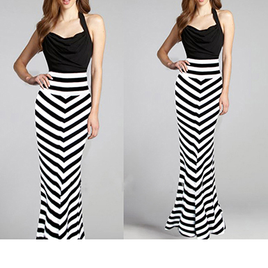 Womens Long Skirts - Black White Striped / Zebra Effe
