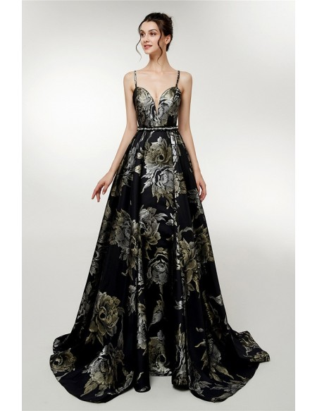Beautiful Floral Printed Black Evening Gown With Spaghetti Straps .