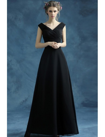Simple Black Long Chiffon Evening Dress With Pleated V Neck .