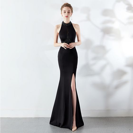 Sexy Black Evening Dresses 2019 Trumpet / Mermaid Halter