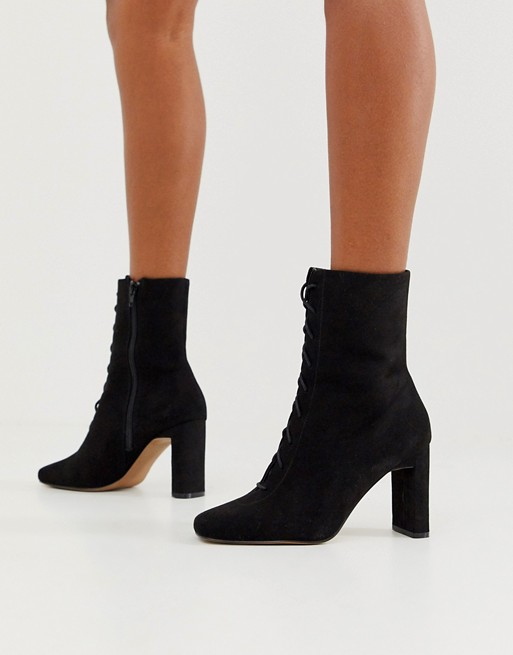 ASOS DESIGN Expression lace up heeled boots in black | AS
