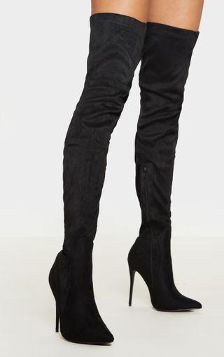Emmi Black Thigh High Heeled Boots | Shoes | PrettyLittleThing U