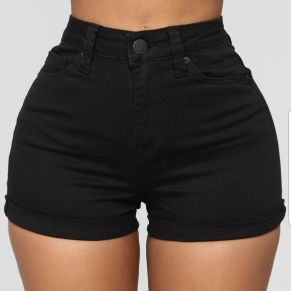 Fashion Nova Shorts   Black High Waisted Black Jean   Poshma