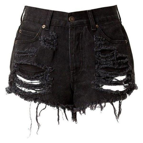 Black High Waisted Denim Shorts Destroyed ❤ liked on Polyvore .