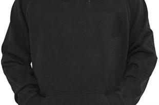 R&MPacific Unisex Plain Black Hoodie Hooded Sweatshirt Pullover at .
