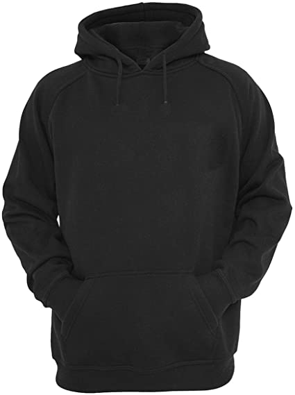 R&MPacific Unisex Plain Black Hoodie Hooded Sweatshirt Pullover at .
