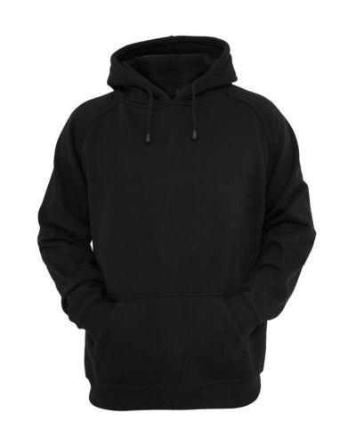 Details about Hooded Plain Black Sweatshirt Men Women Pullover .