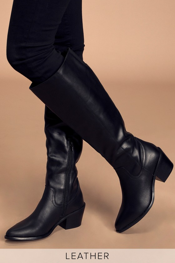 DV by Dolce Vita Orphie - Black Boots - Leather Knee-High Boo