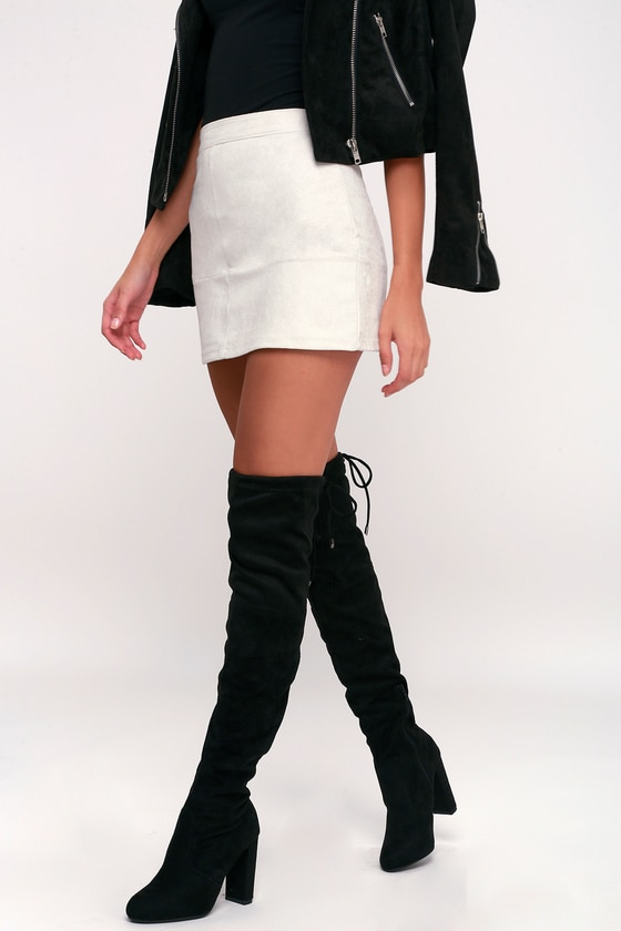 Over the Knee Boots - Vegan Suede Boots - High Heel Boo
