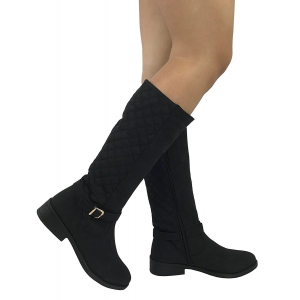 Womens Quilted Knee High Boots Soft Faux Suede Flat Heel With .