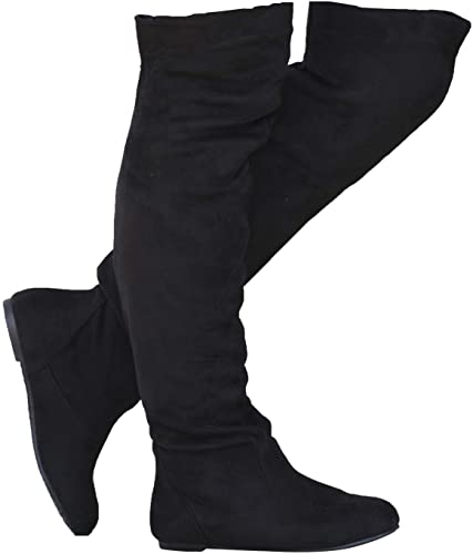 Amazon.com | Women's Over The Knee Slouchy Flat Boots Knee High .