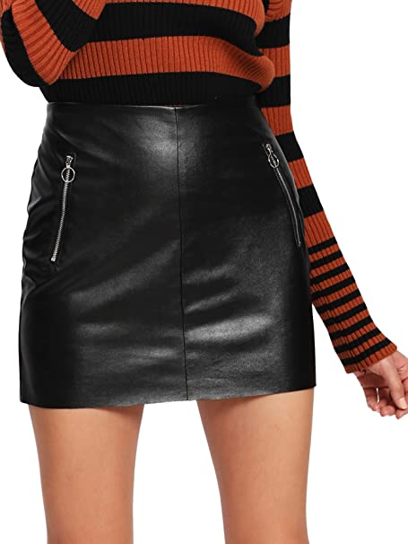 Floerns Women's Pocket Zipper Faux Leather Bodycon Short Skirt at .