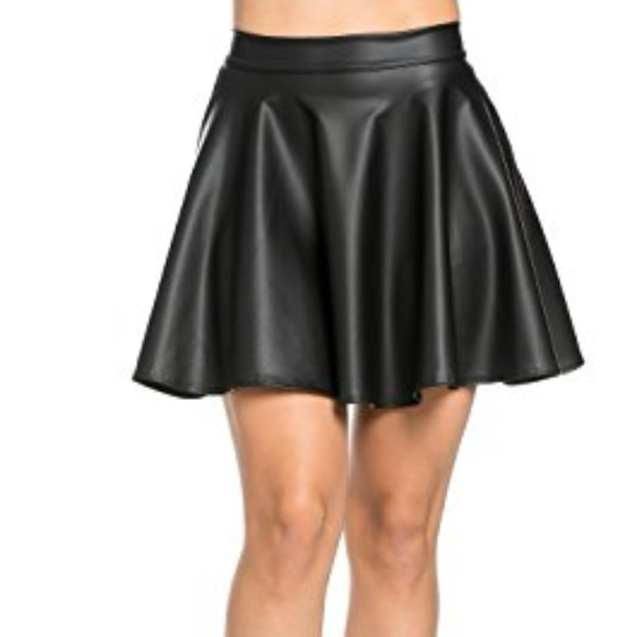 one clothing Skirts | High Waisted Faux Leather Flare Skirt Black .
