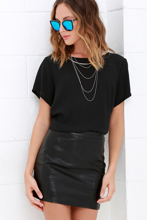 Vegan Leather Skirt - Black Skirt - Mini Skirt - $49.