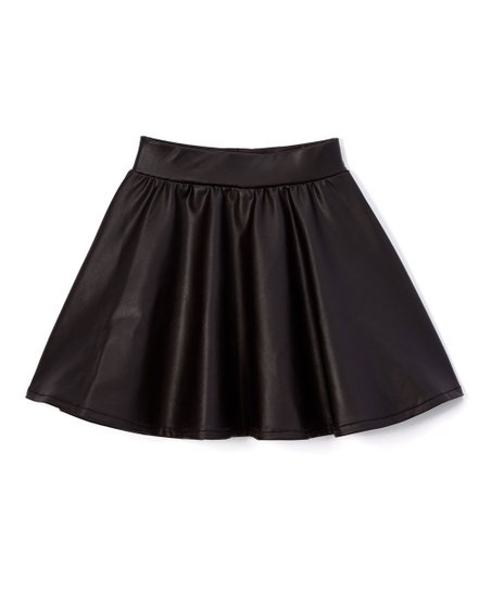 Dreaming Kids Black Faux Leather Skirt - Infant, Toddler & Girls .