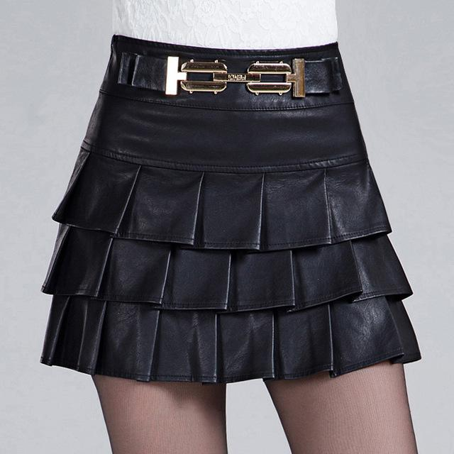 Women Spring Autumn Leather Skirt Vintage Tutu Skirt Black Short .