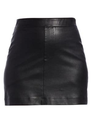 Helmut Lang - Stretch Leather Mini Skirt - saks.c
