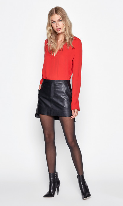 Delafine Leather Skirt in True Black | Equipme