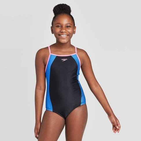 Speedo Girls' Mesh Thin Strap One Piece Swimsuit - Black : Targ