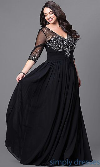 Formal Plus-Size Floor-Length V-Neck Dress | Plus size evening .