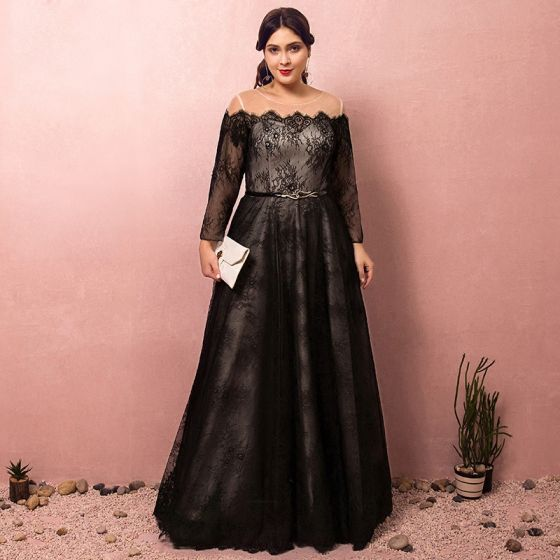 Classy Amazing / Unique Black Plus Size Evening Dresses 2018 A .