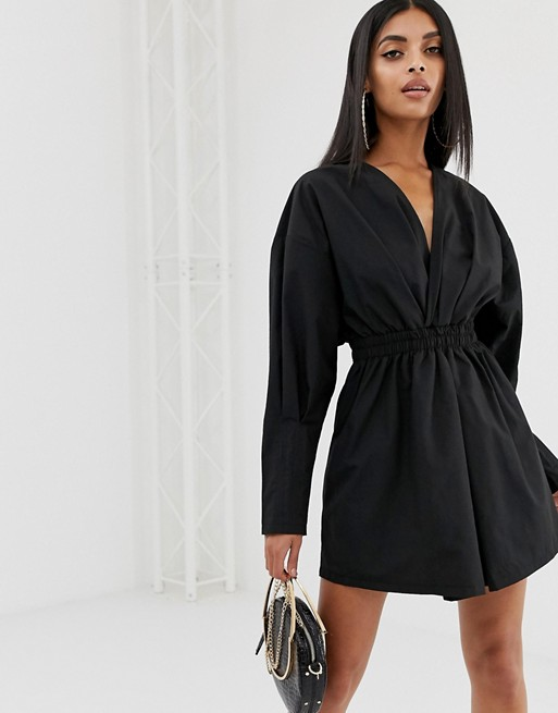 PrettyLittleThing ruched mini shirt dress in black | AS
