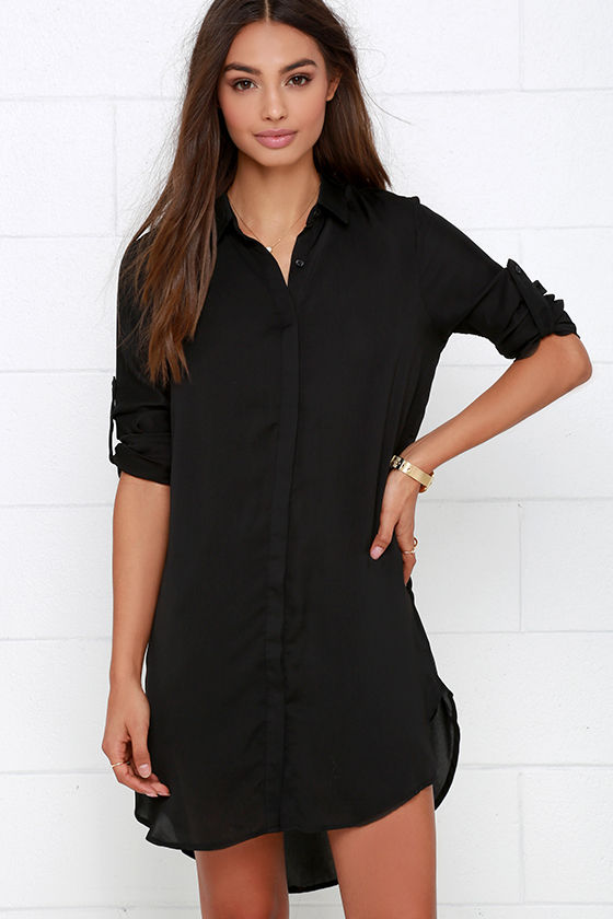 Shirt Dress - Black Dress - Collared Dress - $46.