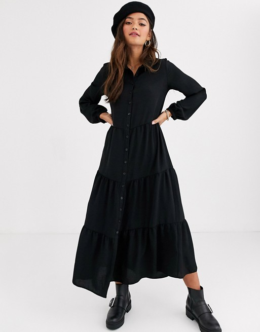New Look maxi shirt dress in black | AS