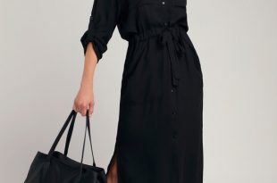 Classic Black Shirt Dress - Long Sleeve Dress - Midi Dre
