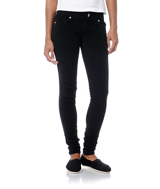 Almost Famous Black Skinny Corduroy Pants | Zumi