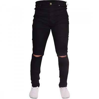 Mens Black Ripped Skinny Jeans Biker Destroyed Slim Fit Designer .
