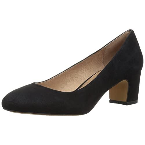 Women's Low Block Heel Black Suede Pump: Amazon.c