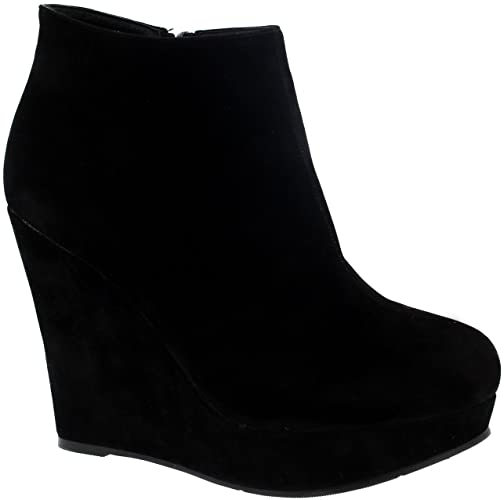 Amazon.com | Project 309 Womens High Wedge Heel Black Party Ankle .
