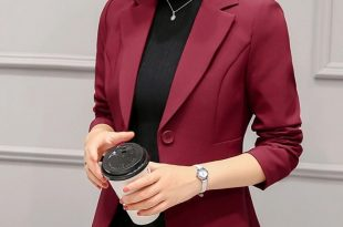 PEONFLY Women's Blazer Long Sleeve Blazers Solid One Button Coat .