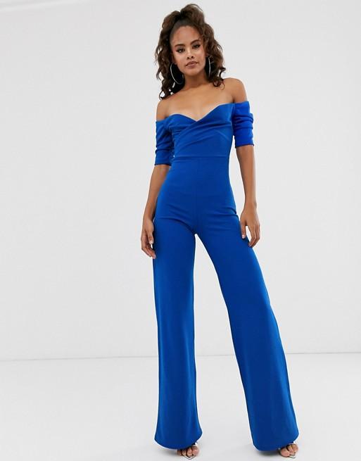 Club L London Tall bardot wide leg jumpsuit in cobalt blue | AS