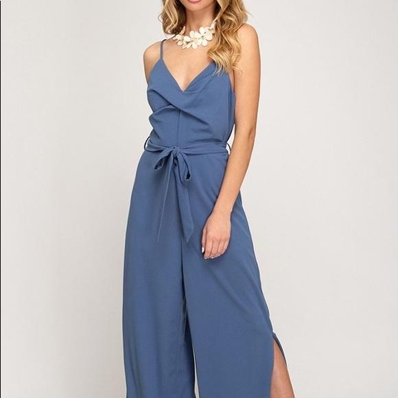 boutique Pants | Dusty Blue Cami Jumpsuit | Poshma