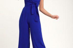 Breezy Royal Blue Jumpsuit - Tie-Front Jumpsuit - Blue Jumpsu