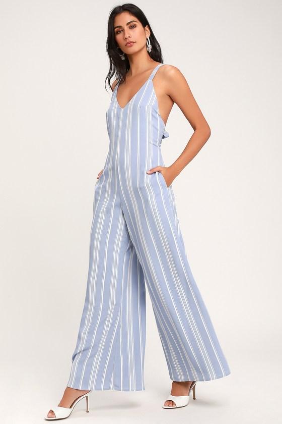Cute Light Blue Jumpsuit - Striped Jumpsuit - Wide-Leg Jumpsu