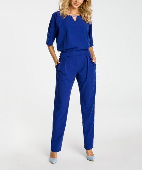 Made Of Emotion Royal Blue Jumpsuit - Women | Zuli