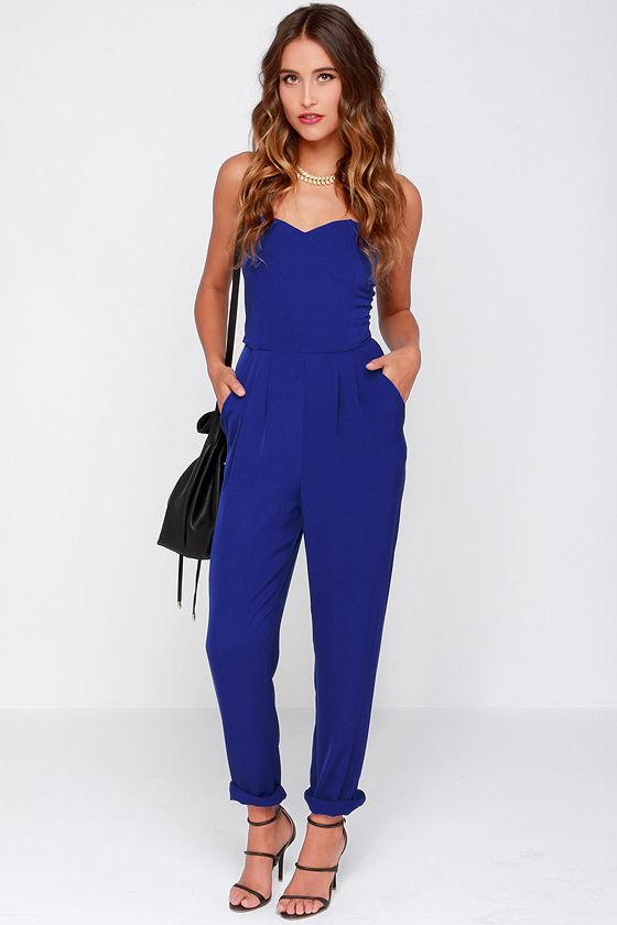 Blue Jumpsuit - Strapless Jumpsuit - $43.