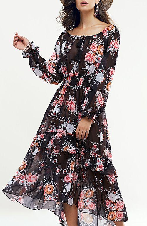 Bohemian Floral Swingy Long Sleeve Maxi Dress | Bohemian clothes .