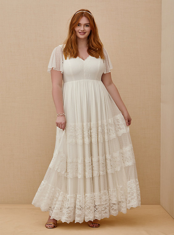 Plus Size - Ivory Lace A-line Boho Wedding Dress - Torr