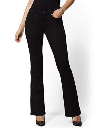 NY&C: Petite High-Waisted Barely Bootcut Jeans - Bla