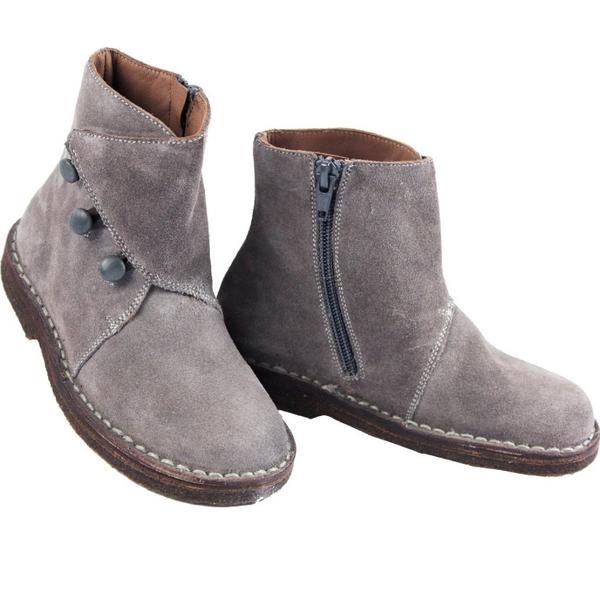 Grey Suede Girls Boots | Grey Ankle Boots for Girls | PePe Sho