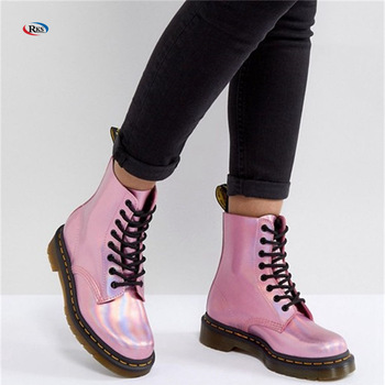 Leather Holographic Pink Lace Up Boots Winter Clear Jelly Boots .