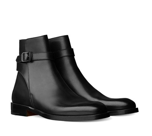 Hermes men's ankle boot in calfskin with leather buckle and .