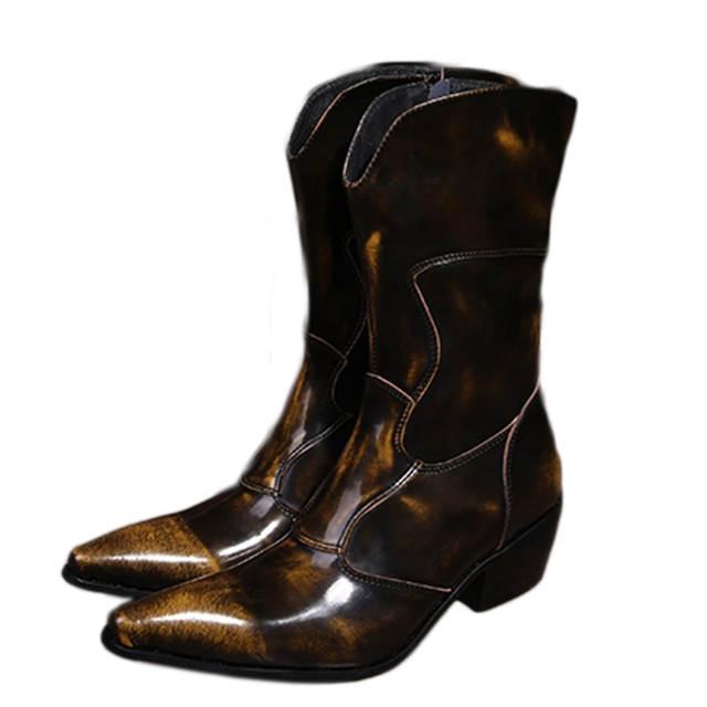 Western Cowboy Boots Men Medium calf Genuine Leather Mens Boots .